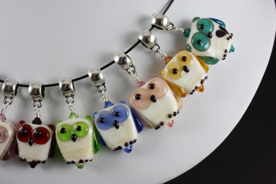 Birthstone Owl Pendants by Francesca DeCaire