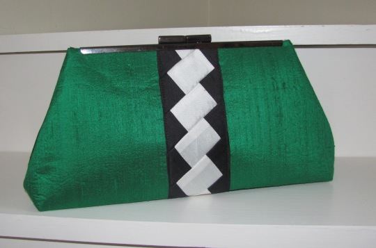 Kelly Green Silk Dupioni Fabric Clutch