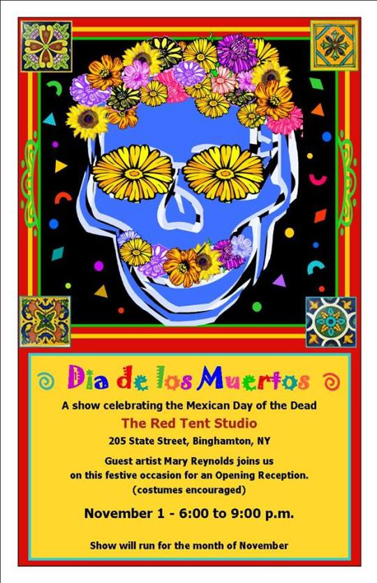 """Join me at the Red Tent Studio in Binghamton for Dia de los Muertos. I will be participating with Yvonne Lucia and Liz Tilley as we present three interpretations for this celebratory event.  Spoiler alert: some of my """"animals"""" will be there but you might not recognize them."""