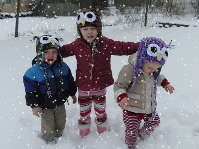 Angela MacAllister Berry Cute Hats Kids in Snow