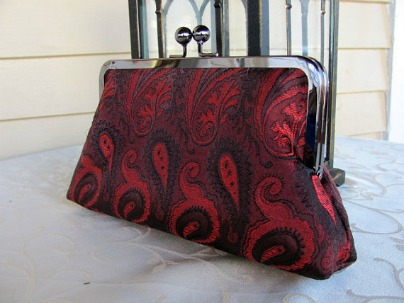 Juana Morreale Black & Red Paisley Clutch