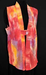 Anne Fischer's Roark Vest.  Hand dyed silk noil, one button, size medium.
