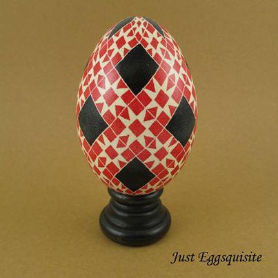 Pysanky Pisanki Ukrainian Polish Easter Egg Red Rose Star Hand Decorated Goose Egg