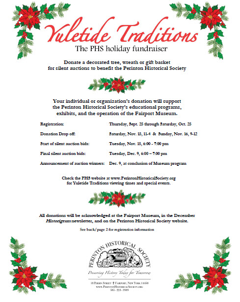 Perinton Historical Society Yuletide Traditions 2014