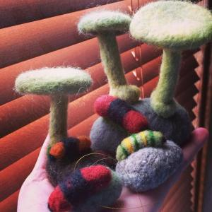 Felted Caterpillars, Mushrooms and Stones, Littlewing Clay