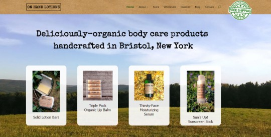 On Hand Lotions Website Header
