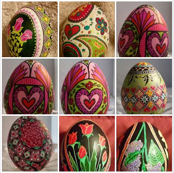 I make Pysanky eggs (AKA Ukrainian Eggs.) I blend traditional elements with non traditional colors and I play with color.