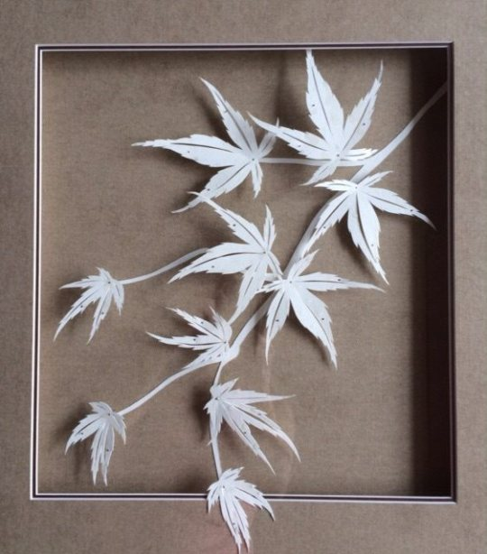 Delicate paper leaves by Allison Nichols, who is a very talented artist as well as framer.