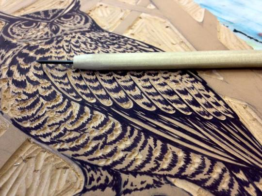 Great Horned Owl block print coming to life!