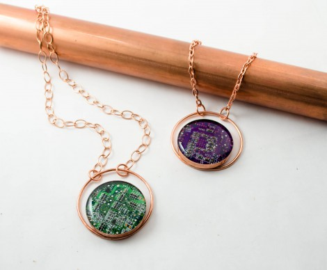copper circle neckllaces